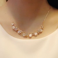 Glittering Flower and Ball Opal Necklace