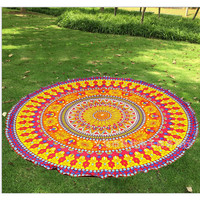 Beautiful Colorful Pinks and Yellows Indian Mandala Tapestry Round BOHO Beach Throw/Shawl Yoga Blanket