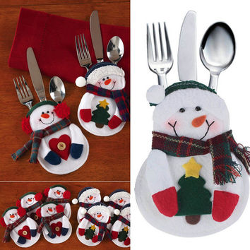 8pcs/set Xmas Decoration Nonwoven Fabric Snowman Kitchen Tableware Holder Pocket Christmas Decoration Supplies