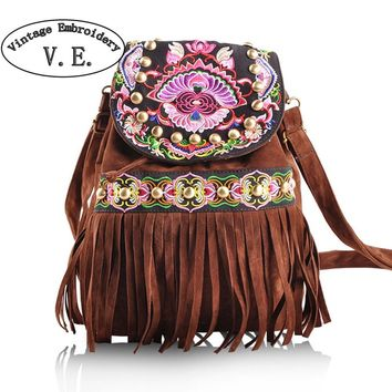 Vintage Boho Handmade Embroidered Backpack