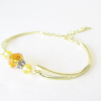 Gold Bangle Bracelet - OOAK Bracelet - Gold Toned Bracelet - Two Toned Jewelry - Yellow Crystal Bracelet - Adjustable Small / Medium Bangle