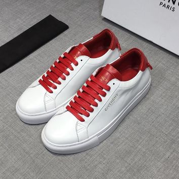 GIVENCHY Red White Leather Low Sneakers - Best Deal Online