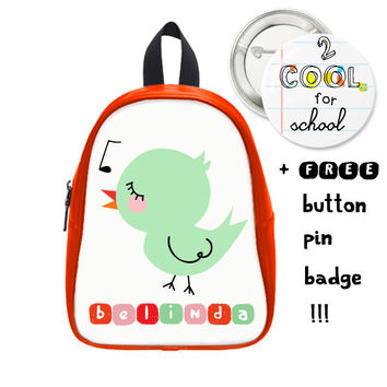 Cute Custom Backpack + FREE pin button - Birdy daysack - personalized backpack for kids with animal design - for school boys and girls