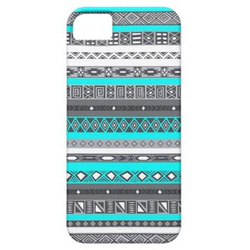 Ice Mint Grey Tone Native Tribal Aztec Pattern Case For iPhone 5/5S
