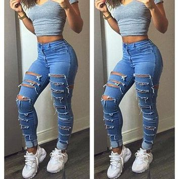 Women Jeans Denim Skinny Fit High Waist Destroyed Ripped Slim Ladies Pants