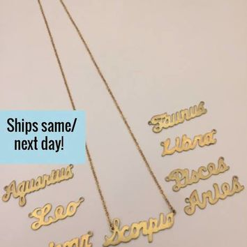 Horoscope Necklace, Horoscope Charm, Zodiac Necklace, Gold Zodiac Necklace, Birth Sign, Birth Sign Necklace, Birthday Gift, Birthday Present
