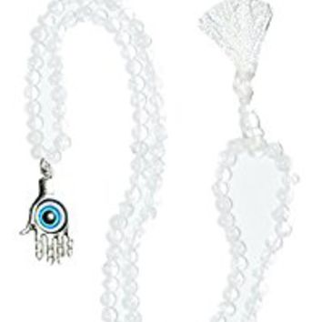 Evil Eye Buddhist yoga beads Himalayan Quartz Crystal Hamsa Pendant Necklace