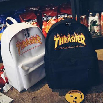 shosouvenir :Thrasher College Stylish Hot Deal Casual Back To School Comfort Canvas Backpack