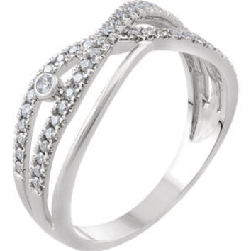 14K White 1-4 CTW Diamond Criss-Cross Ring