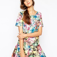 Essentiel Antwerp Dress in Neoprene Floral Print with Frill Hem