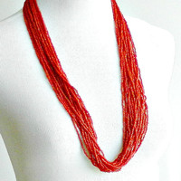 Vintage Multi Strand Necklace, Coral Glass Torsade Beaded Necklace, Long Coral Red Multi Strand Necklace.