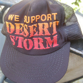 "Vintage ""We Support Desert Storm"" Trucker Cap Baseball Hat Snapback Adjustable"