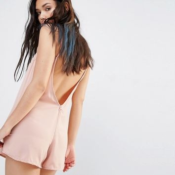 Motel Cami Playsuit With Low V Back
