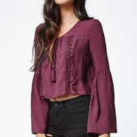 Kendall & Kylie Crochet Inset Bell Sleeve Top - Womens Shirts