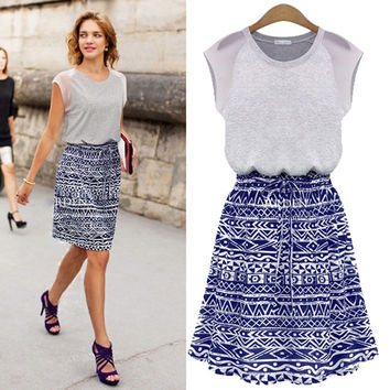 Blue Tribal Print Skirt And Grey Mesh Shirt Dress