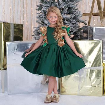 High Quality Baby Girls Pageant Dress Party Wear Emerald Green Flower Girl Dresses Sequined Bow Junior Bridesmaid Gown Lovely