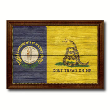 Gadsden Don't Tread On Me Tea Party Kentucky State Military Flag Texture Canvas Print with Brown Picture Frame Home Decor Wall Art Gifts