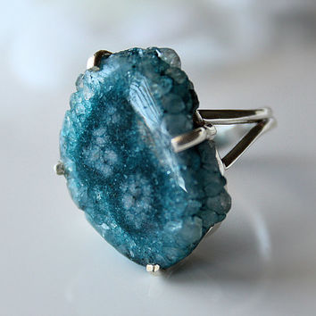 Light Blue Geode Slice Ring, 925 Sterling Silver, Blue Solar Quartz, Size 7 Ring, Blue Druzy Ring, Geode Jewelry