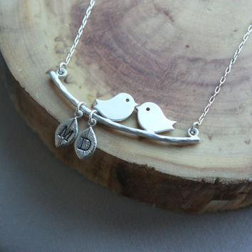 Personalized Love Birds on Branch Necklace - MODERN VERSION . Two Birds . 2 Children, Kids . Personalized Necklace . Gift for Mom, Mother