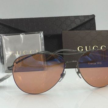 DCCK3SY GUCCI WOMEN'S SLIM AVIATOR SUNGLASSES, BLACK WITH ORANGE LENSES
