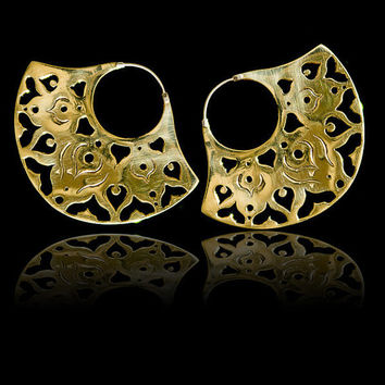 Brass Earrings with a Silver Clasp