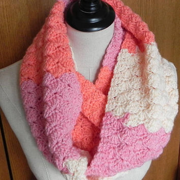 Long crochet infinity scarf in strawberry pink, peach and cream is ready to ship, infinity cowl scarf #555