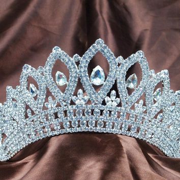 "Vintage Silver Tiaras Diadem 3.5"" Clear Rhinestones Crystal Bridal Wedding Crowns Pageant Party Headband Hair Jewelry"