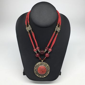 Turkmen Necklace Afghan Antique Tribal Fashion Multi Strand Beaded Necklace S124