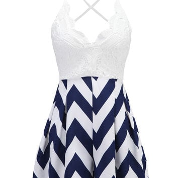 Navy Blue Chevron Skirt Lace Top Cami Romper Playsuit