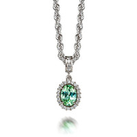 Oval cut Green tourmaline and diamond halo necklace, white gold, diamond pendant, green, tourmaline necklace, nickel free, anniversary