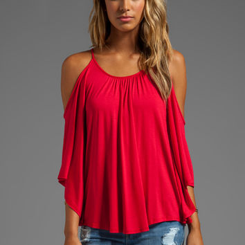 James & Joy Nick Open Shoulder Top in Red from REVOLVEclothing.com