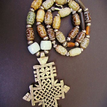 JADE Carved Barrel Beaded ETHIOPIAN CROSS Bohemian Necklace~ Ethiopian Coptic Cross ~Gemstone Tribal Chunky Necklace~Statement Jewelry~