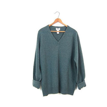 LL Bean Wool Vneck Sweater Thin Marled Blue Lambswool Boyfriend Pullover 90s Preppy Wool Sweater Simple Minimal Jumper Vintage Mens Medium