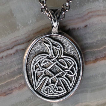 "Celtic Raven Pendant Necklace with Stainless Steel Chain - ""Speak your truth"" - Celtic Knot Raven Peter Pendant - Viking Raven"