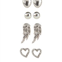Set of 6 Stud Earrings with Wings and Hearts