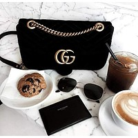 GUCCI Hot Sale Popular Women Shopping Velvet Leather Metal Chain Handbag Shoulder Bag Crossbody Satchel Black I/A