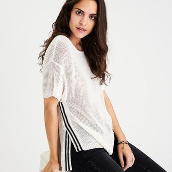 AEO Boxy Split-Seam Sweater, Cream