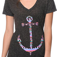 Empyre Tribal Anchor Heather Charcoal V-Neck Tee Shirt