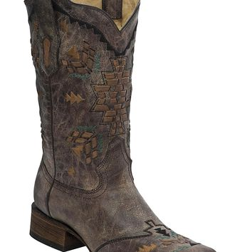 Corral Women's Laser Woven Cowgirl Boot Square Toe - A3063