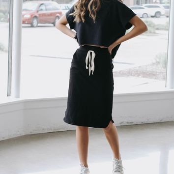 Black Jersey Knit Skirt