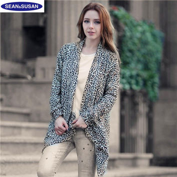 2016 Fashion Leopard Open Stitch Printed Sweaters Women Cardigans Long Warm Sweater Coats Jersey mujer Pull femme Maglioni donna