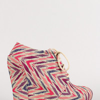 Pattern Lace Up Platform Wedge Bootie