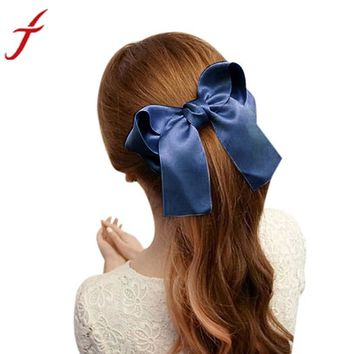 JECKSION Women Girls Cute Large Big Satin Hair Clip Boutique Ribbon Bow