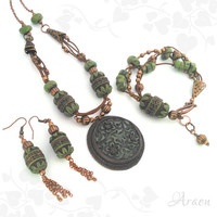 Symbol of Life Tribal Hungarian Talisman necklace earrings and bracelet set
