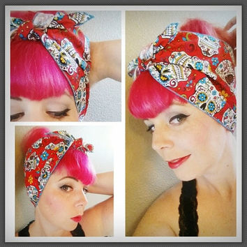 Red Day of the Dead Sugar Skulls Double WIDE Headwrap Bandana Hair Bow Tie 1950s Vintage Style - Rockabilly - Pin Up - For Women, Teens