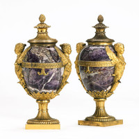 Bonhams : A pair of rare ormolu mounted banded amethyst quartz winged-figure Vases and Coverscirca 1772, designed by Matthew Boulton,