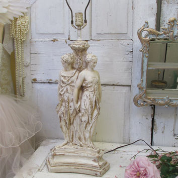 Large vintage chalkware lamp The Three Graces shabby chic distressed neoclassical table lamp anita spero