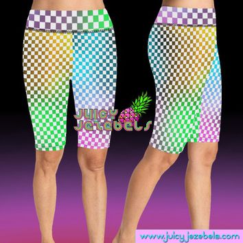 NEON CHESS PLAYER Rave Shorts Bike Shorts Cycling Shorts High Waisted Shorts Rave Clothing Music Festival Clothing Rave Outfit Rave Wear
