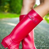Come Rain or Shine Boots-Cherry