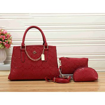 Coach Popular Classic Women Leather Handbag Shoulder Bag Crossbody Purse Wallet Set Three Piece Red I-KSPJ-BBDL